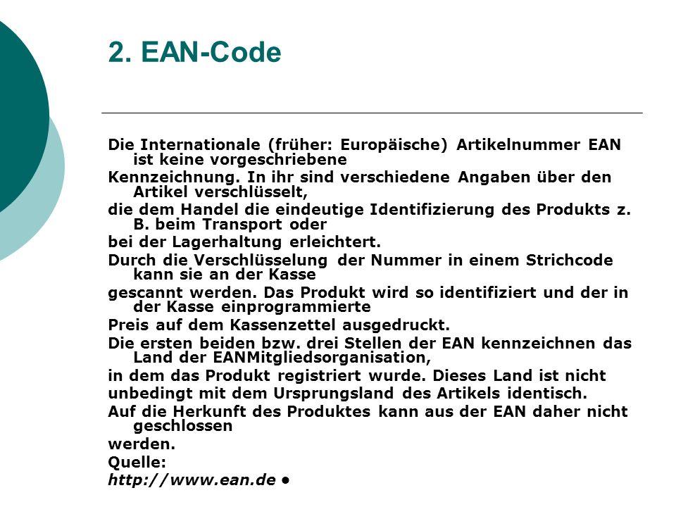 2. EAN-Code Die Internationale (früher: Europäische) Artikelnummer EAN ist keine vorgeschriebene.