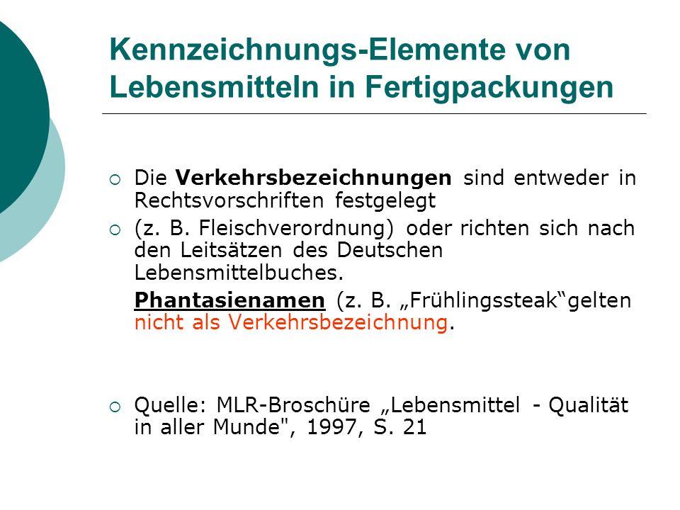 Kennzeichnungs-Elemente von Lebensmitteln in Fertigpackungen