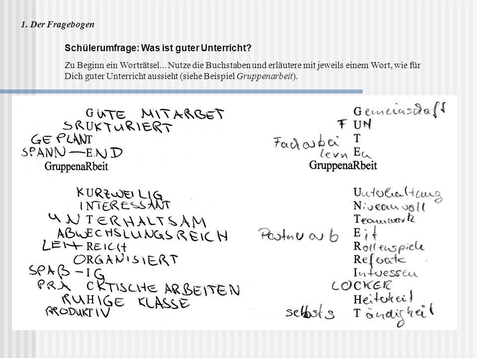 1. Der Fragebogen Schülerumfrage: Was ist guter Unterricht