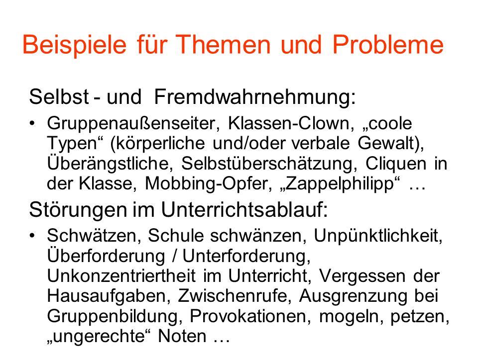 Beispiele für Themen und Probleme