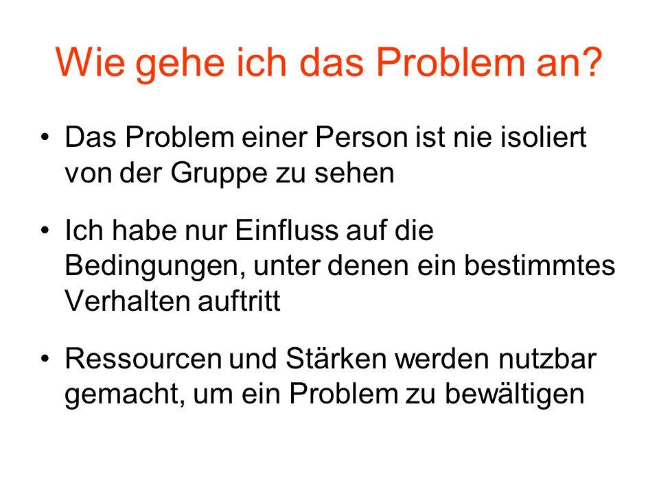 Wie gehe ich das Problem an