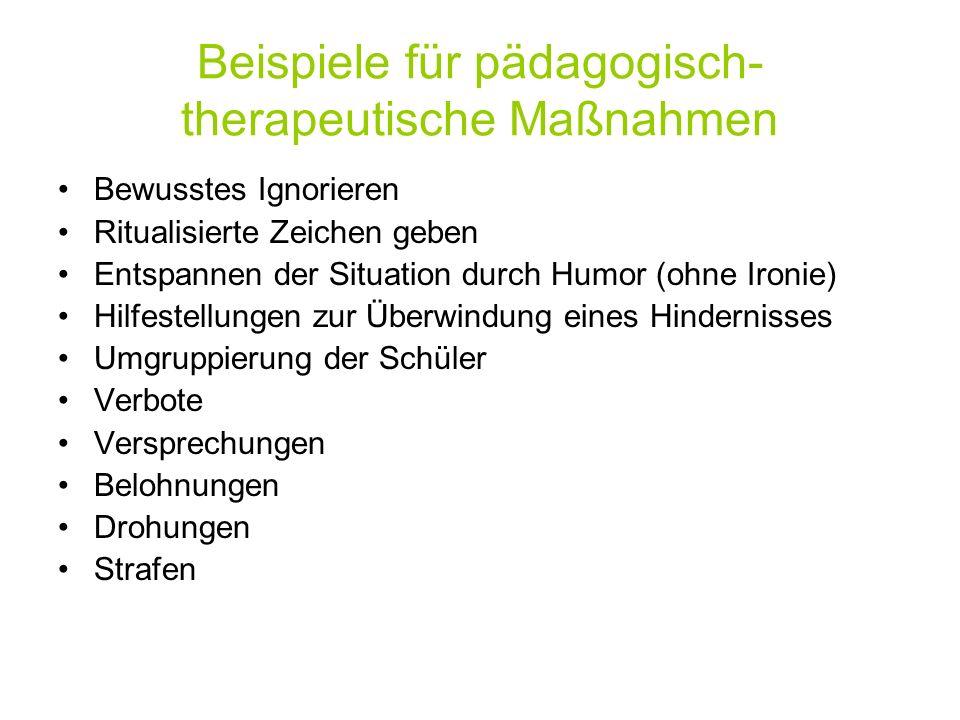 Beispiele für pädagogisch-therapeutische Maßnahmen