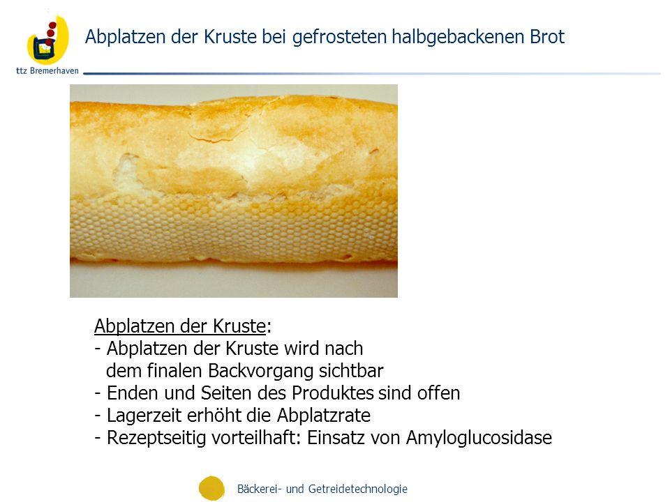Abplatzen der Kruste bei gefrosteten halbgebackenen Brot