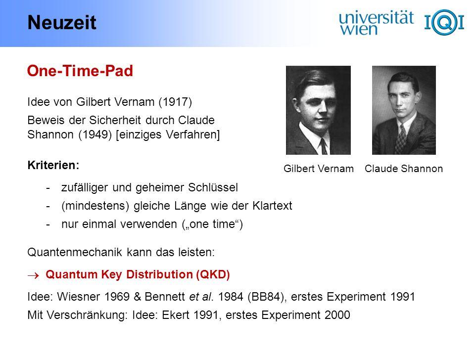 Neuzeit One-Time-Pad Idee von Gilbert Vernam (1917)