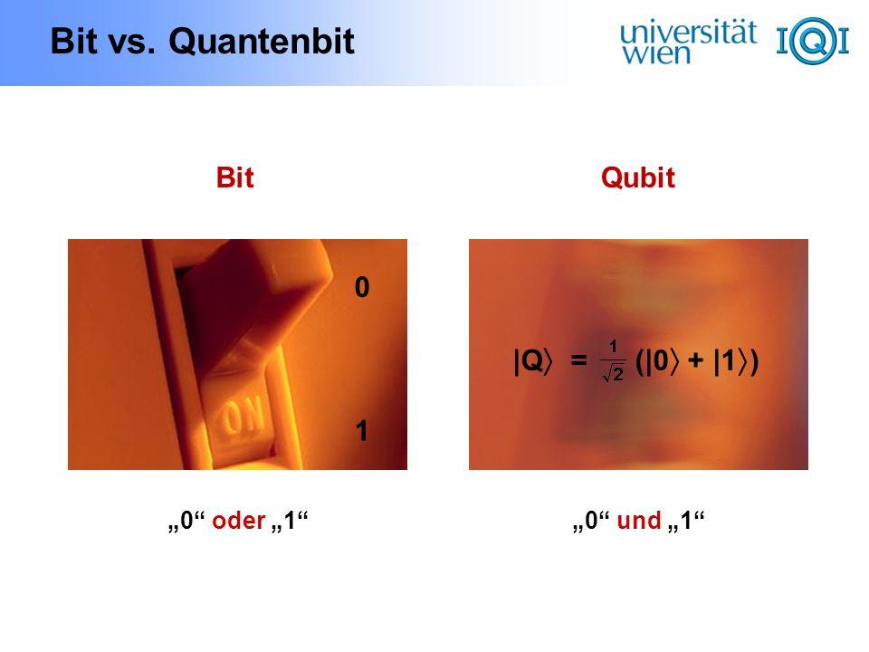 "Bit vs. Quantenbit Bit Qubit |Q = (|0 + |1) 1 ""0 oder ""1"