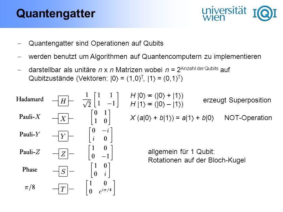 Quantengatter Quantengatter sind Operationen auf Qubits