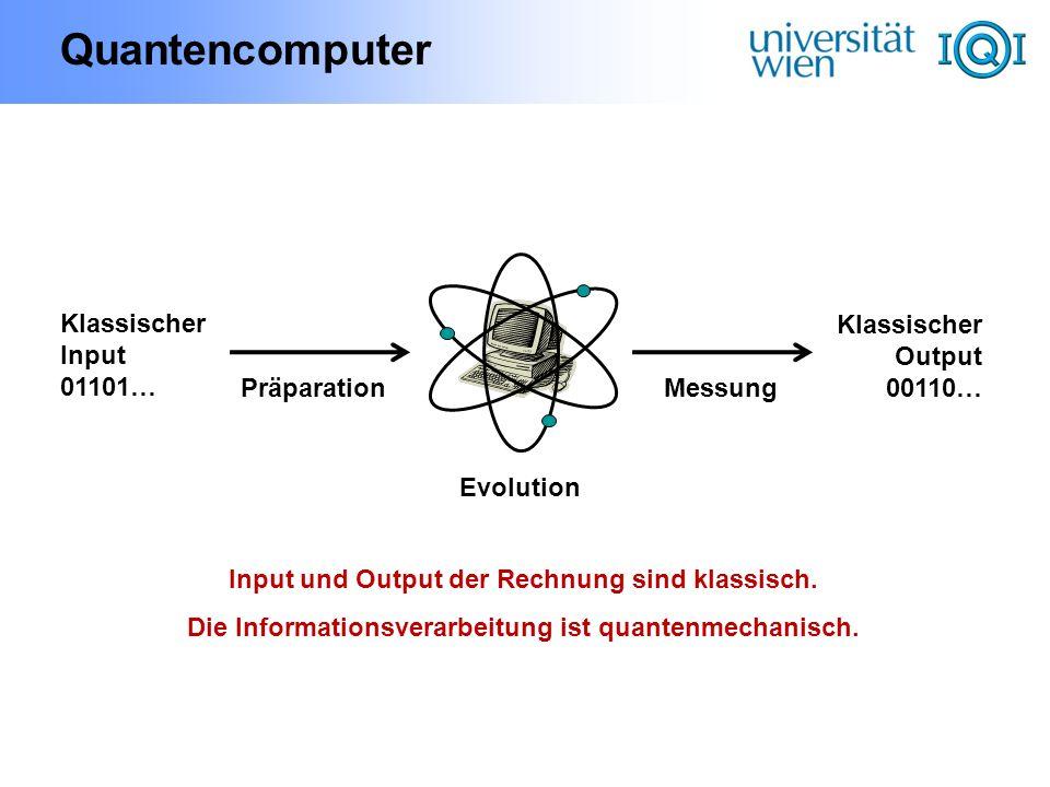 Quantencomputer Klassischer Input 01101… KlassischerOutput 00110…