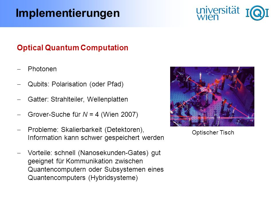 Implementierungen Optical Quantum Computation Photonen