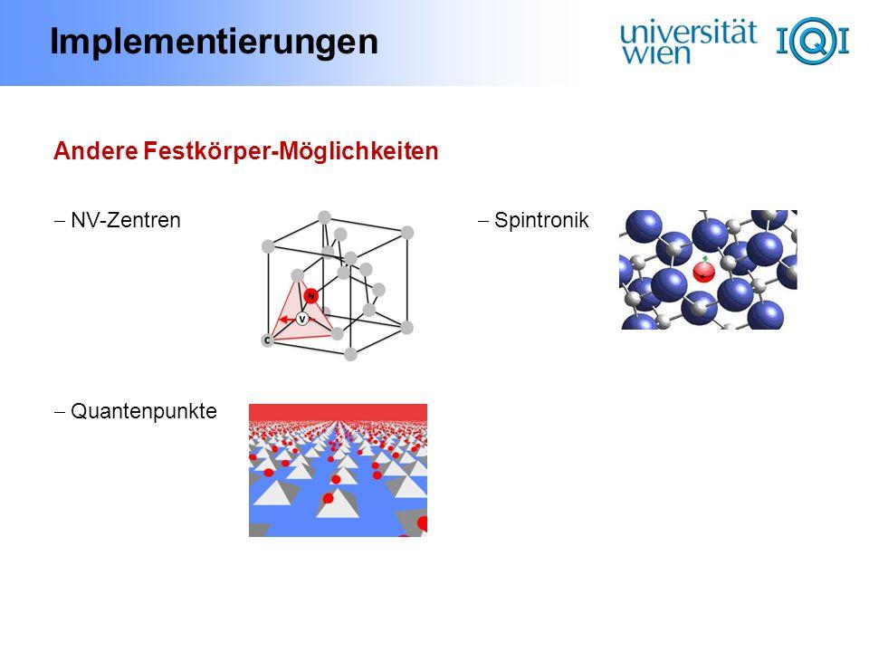 Implementierungen Andere Festkörper-Möglichkeiten NV-Zentren