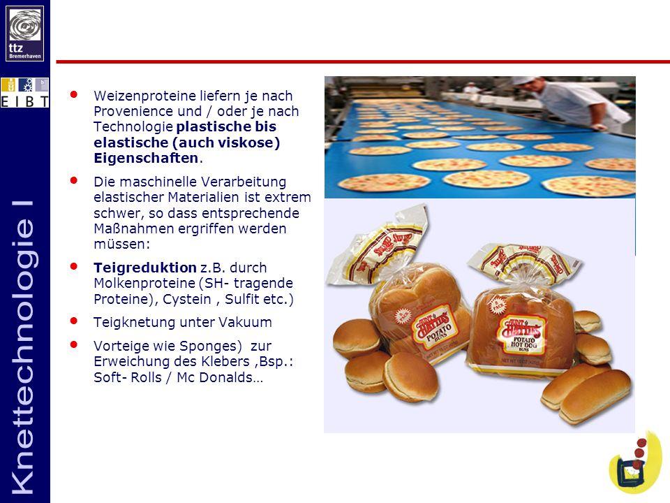 Weizenproteine liefern je nach Provenience und / oder je nach Technologie plastische bis elastische (auch viskose) Eigenschaften.