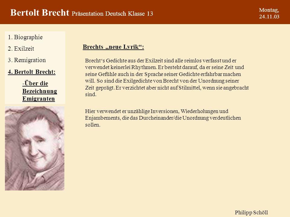 Bertolt Brecht Präsentation Deutsch Klasse 13