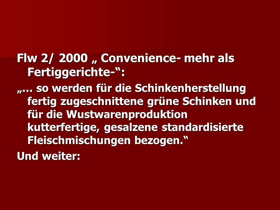 "Flw 2/ 2000 "" Convenience- mehr als Fertiggerichte- :"
