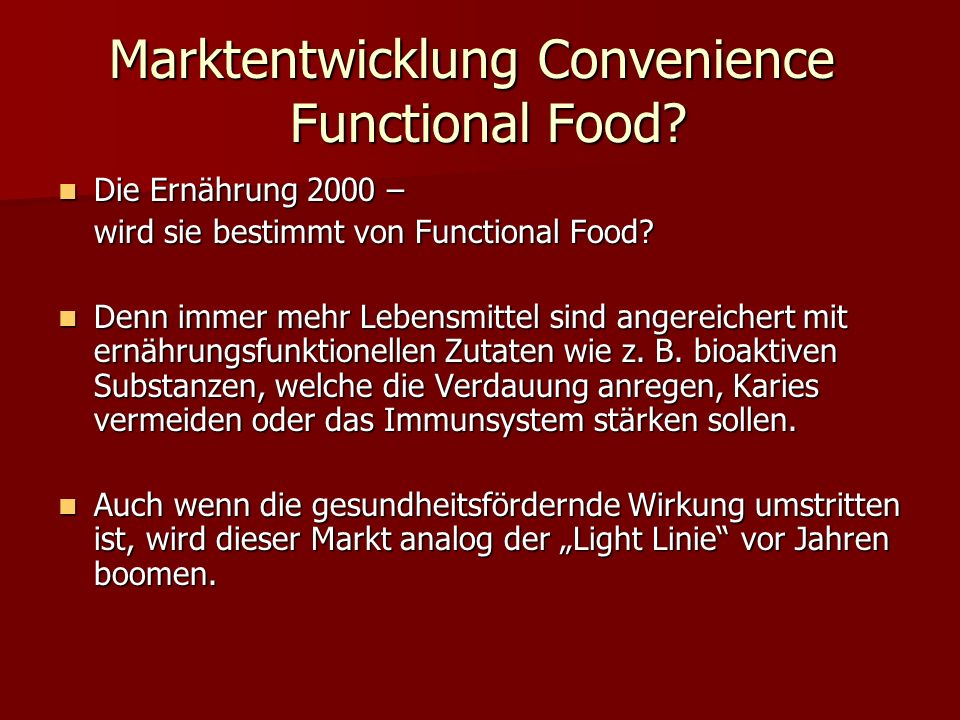Marktentwicklung Convenience Functional Food