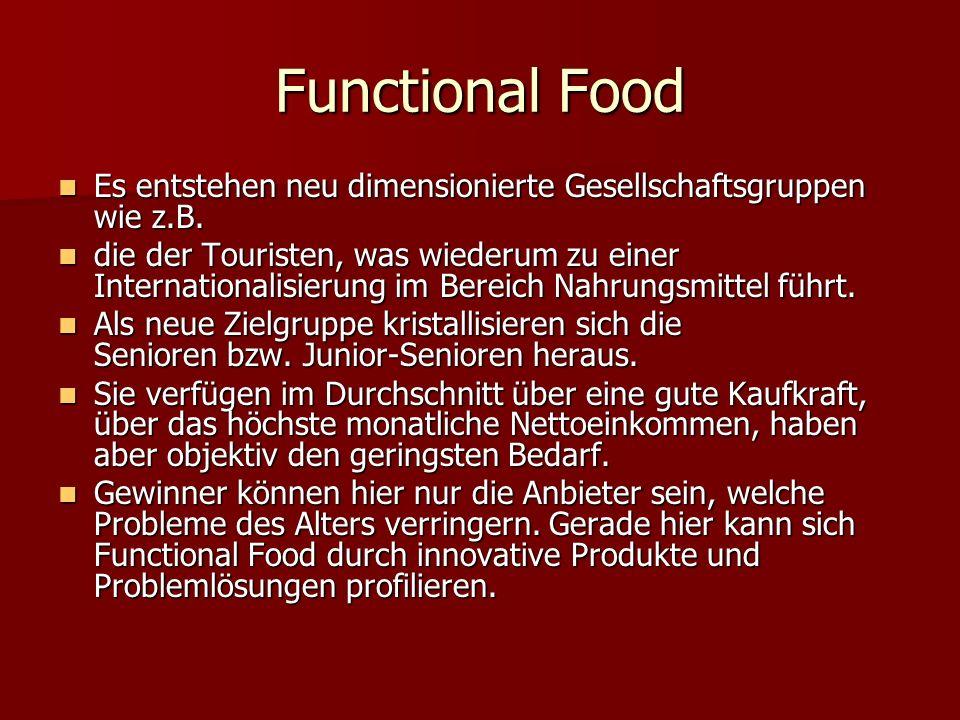 Functional Food Es entstehen neu dimensionierte Gesellschaftsgruppen wie z.B.