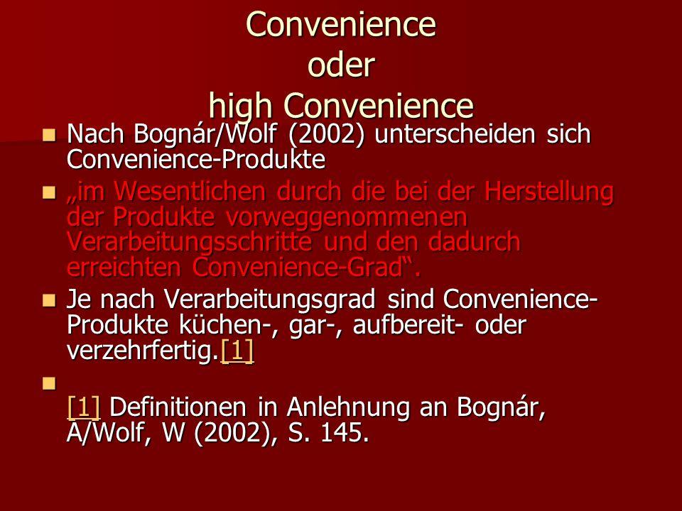 Convenience oder high Convenience