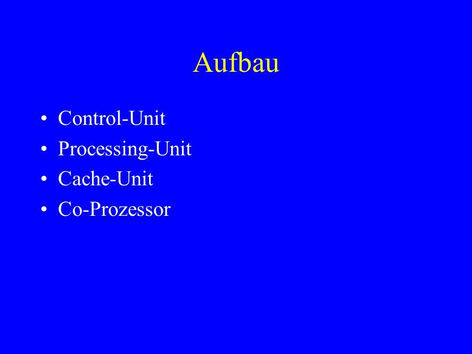 Aufbau Control-Unit Processing-Unit Cache-Unit Co-Prozessor