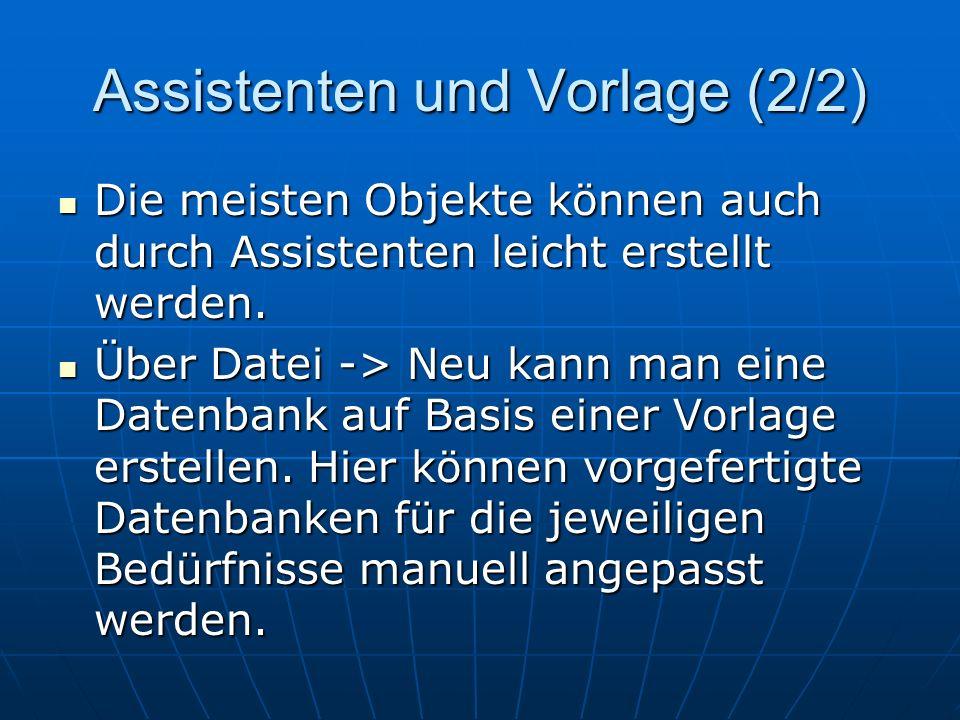 Assistenten und Vorlage (2/2)
