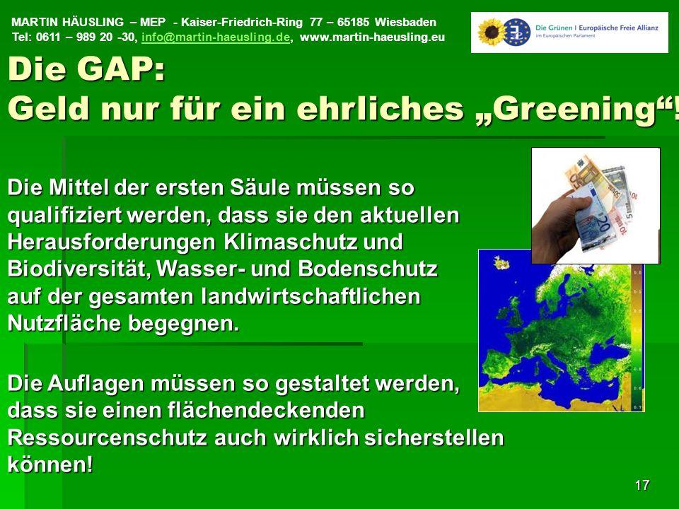 """Die GAP: Geld nur für ein ehrliches """"Greening !"""
