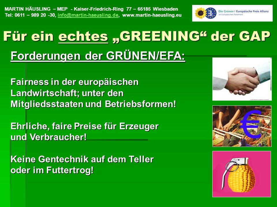 """€ Für ein echtes """"GREENING der GAP Forderungen der GRÜNEN/EFA:"""