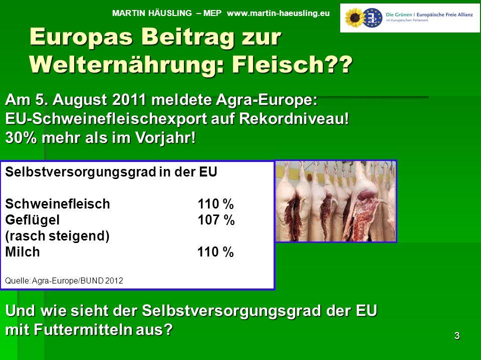 Europas Beitrag zur Welternährung: Fleisch