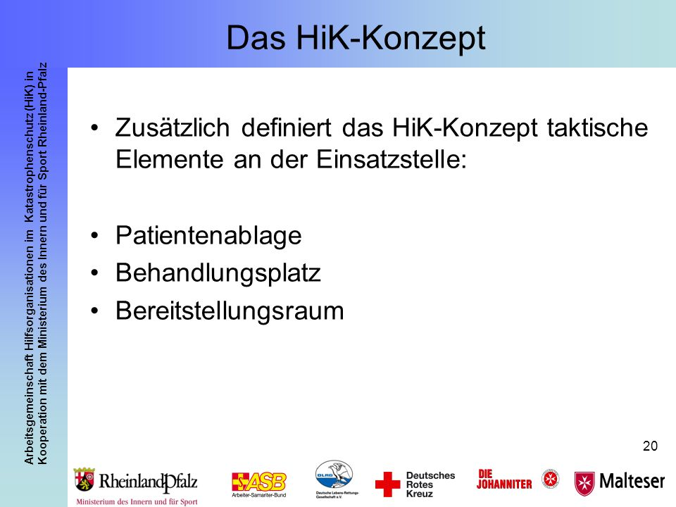 Das HiK-Konzept Zusätzlich definiert das HiK-Konzept taktische Elemente an der Einsatzstelle: Patientenablage.