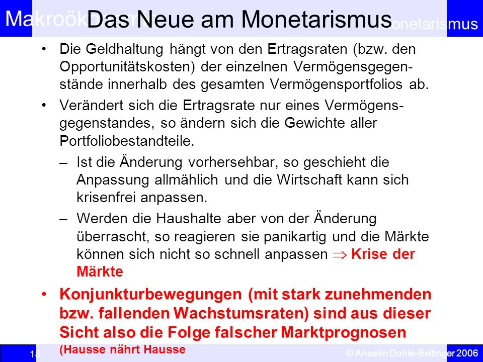 Das Neue am Monetarismus