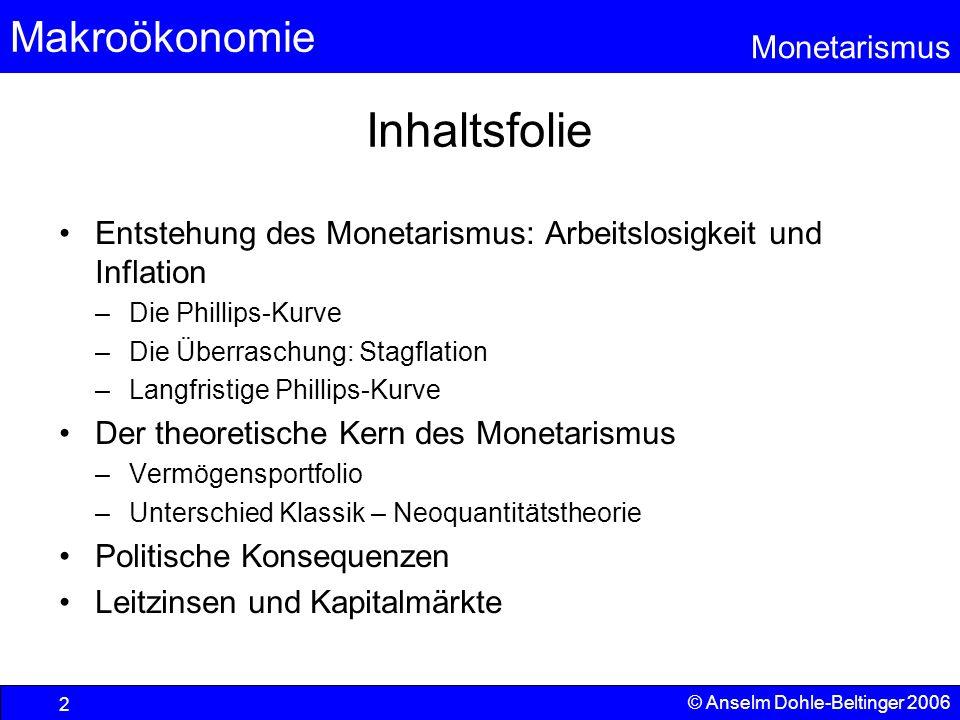 Inhaltsfolie Entstehung des Monetarismus: Arbeitslosigkeit und Inflation. Die Phillips-Kurve. Die Überraschung: Stagflation.