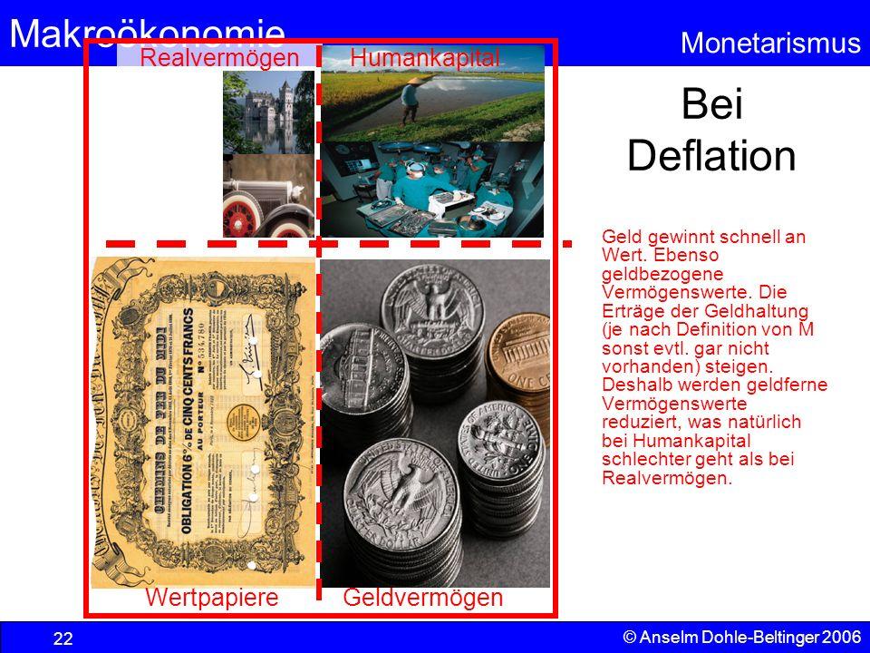 Bei Deflation Realvermögen Humankapital Wertpapiere Geldvermögen