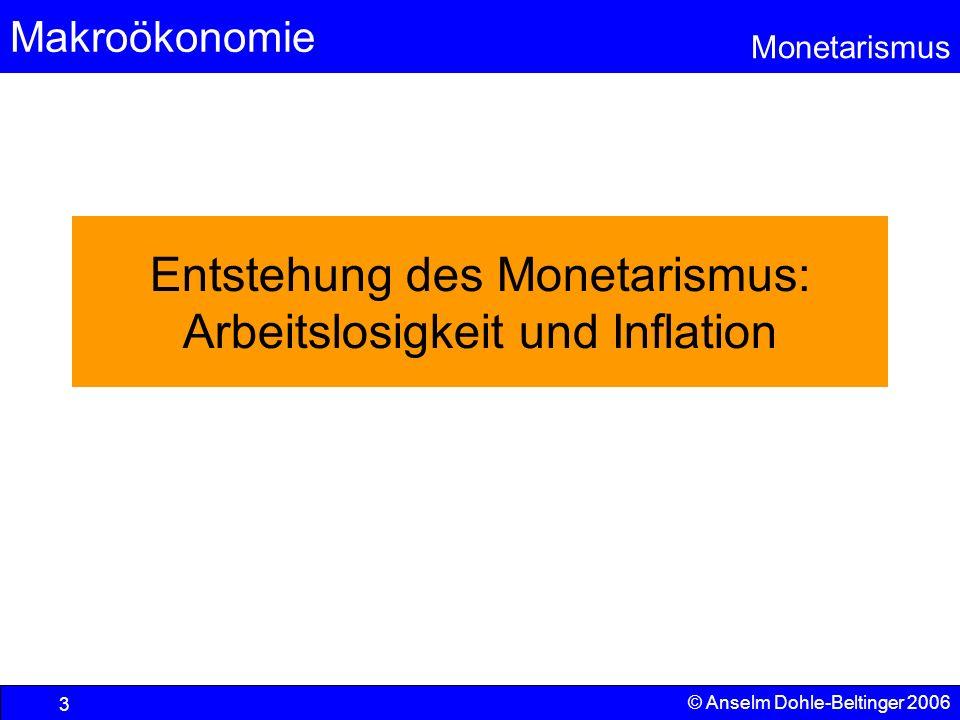 Entstehung des Monetarismus: Arbeitslosigkeit und Inflation