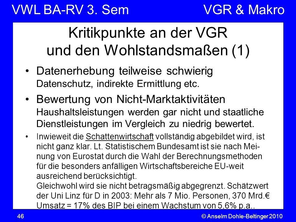 Kritikpunkte an der VGR und den Wohlstandsmaßen (1)