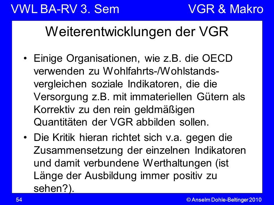 Weiterentwicklungen der VGR