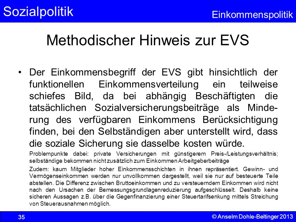 Methodischer Hinweis zur EVS