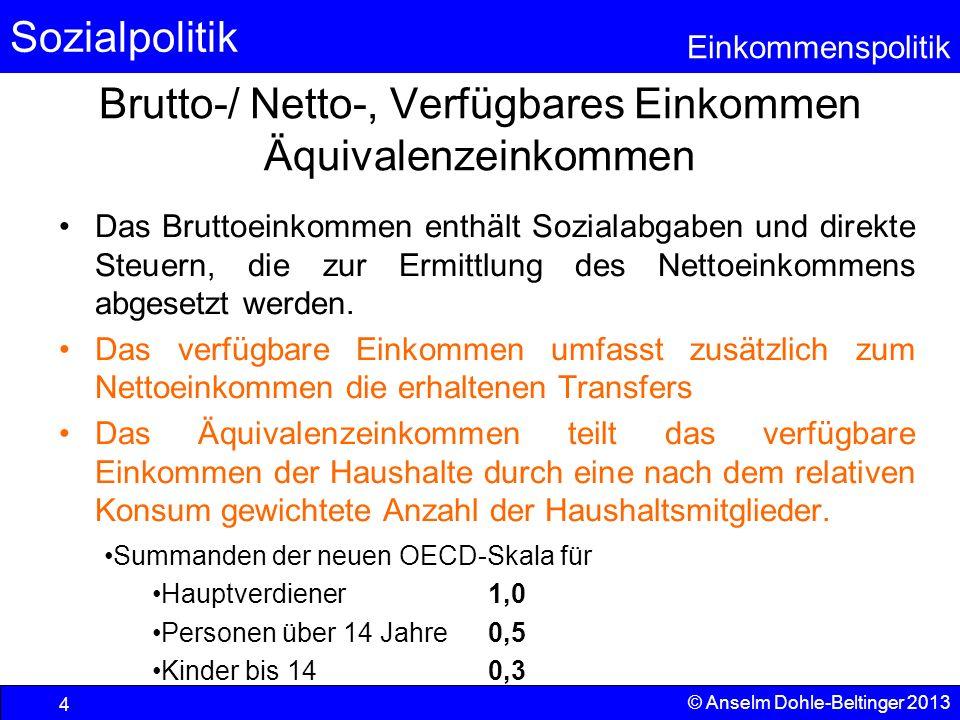 Brutto-/ Netto-, Verfügbares Einkommen Äquivalenzeinkommen