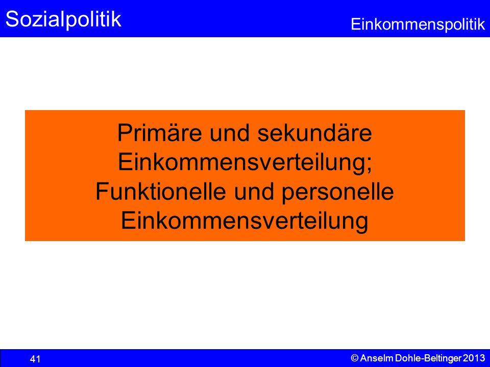 Primäre und sekundäre Einkommensverteilung; Funktionelle und personelle Einkommensverteilung