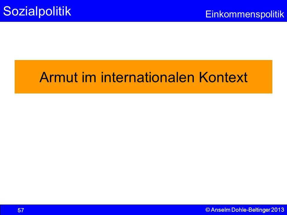 Armut im internationalen Kontext
