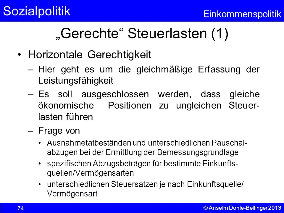 """Gerechte Steuerlasten (1)"