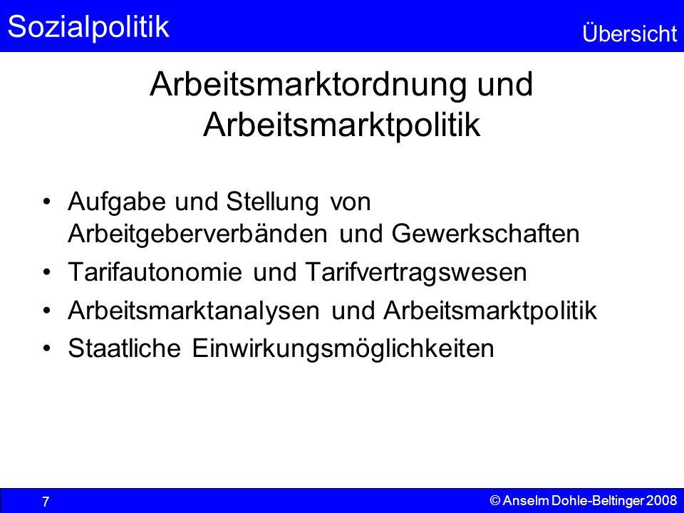 Arbeitsmarktordnung und Arbeitsmarktpolitik