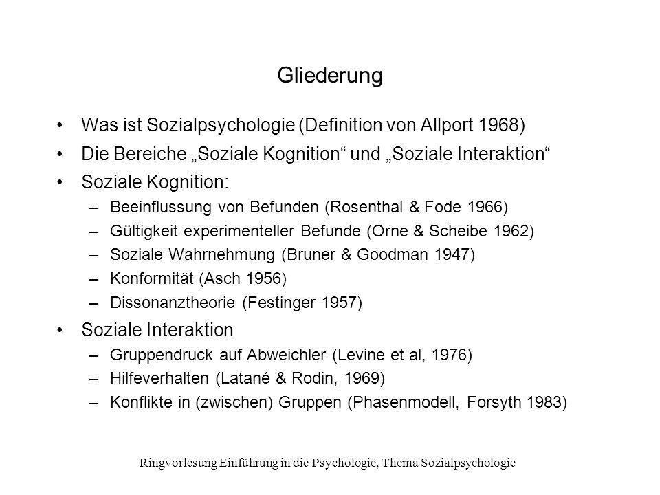 Ringvorlesung Einführung in die Psychologie, Thema Sozialpsychologie