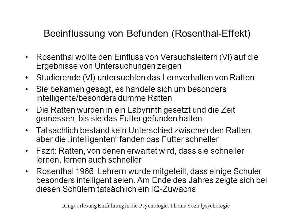 Beeinflussung von Befunden (Rosenthal-Effekt)