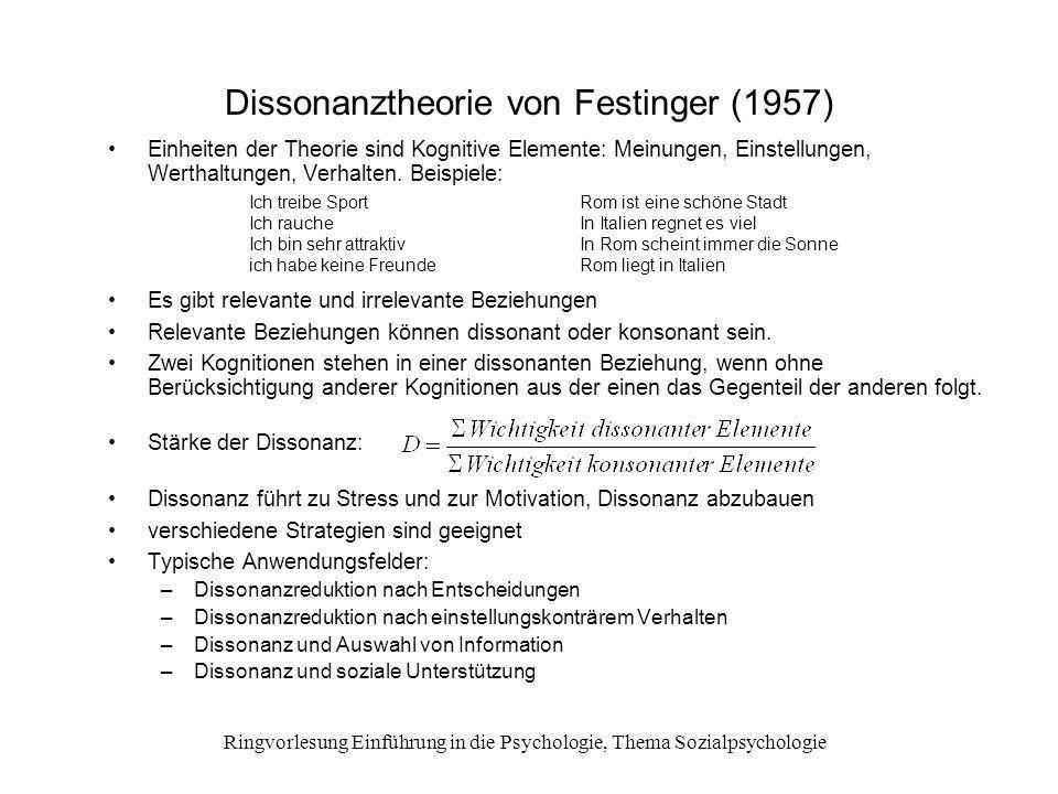 Dissonanztheorie von Festinger (1957)