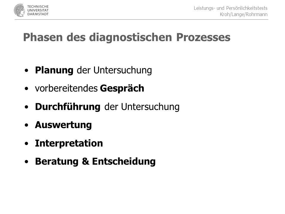 Phasen des diagnostischen Prozesses