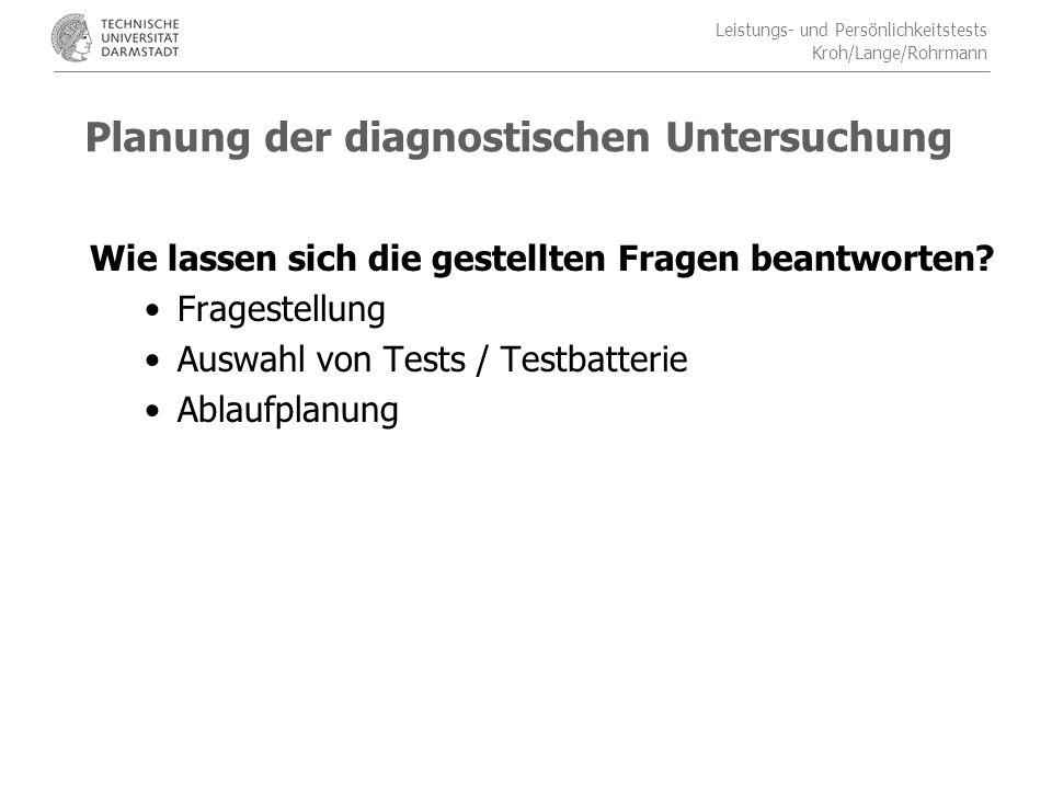 Planung der diagnostischen Untersuchung