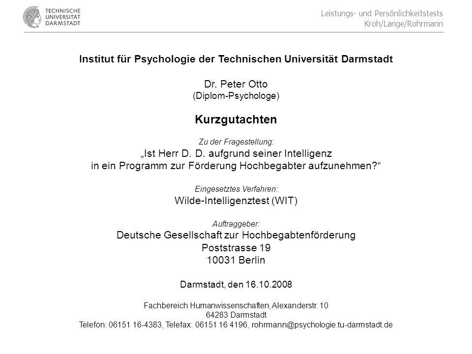 Institut für Psychologie der Technischen Universität Darmstadt