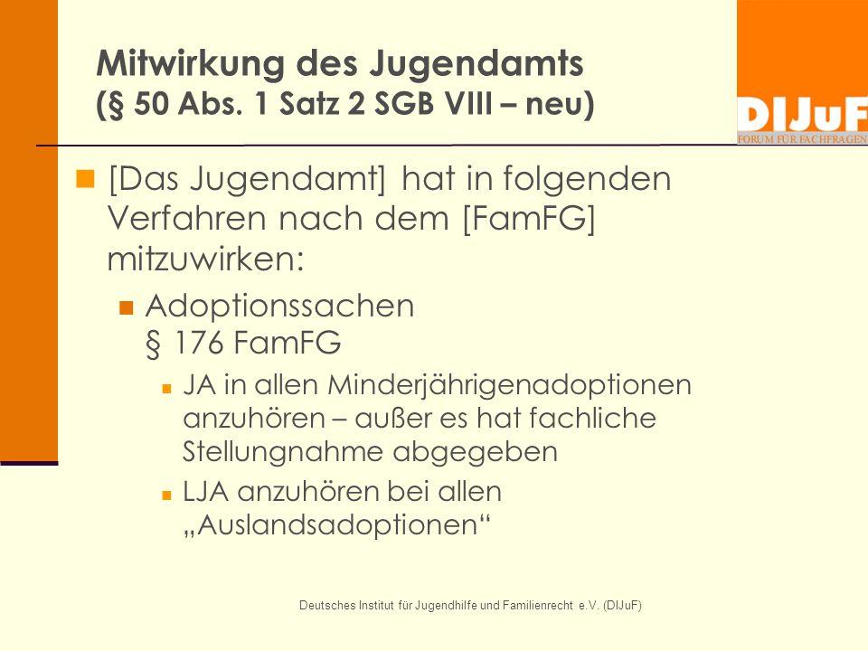 Mitwirkung des Jugendamts (§ 50 Abs. 1 Satz 2 SGB VIII – neu)
