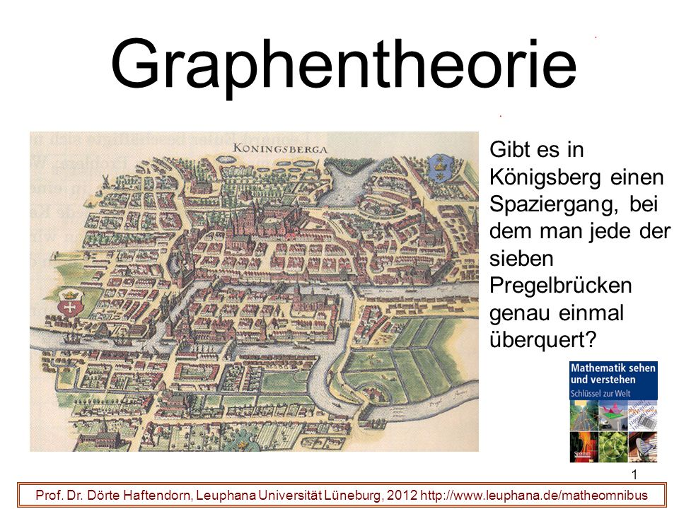 Graphentheorie Gibt es in Königsberg einen Spaziergang, bei dem man jede der sieben Pregelbrücken genau einmal überquert