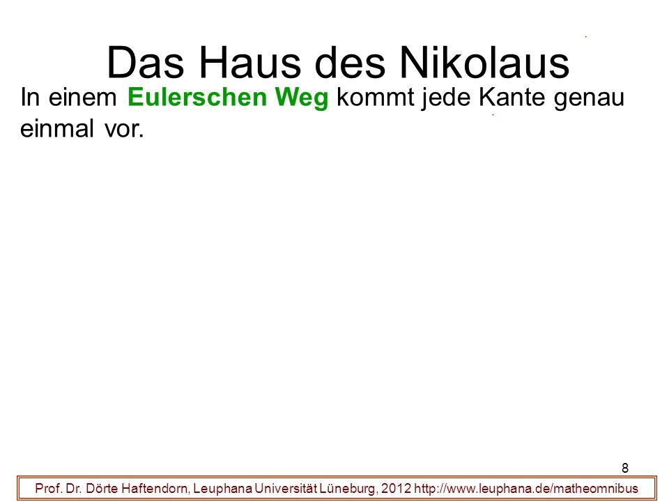 Das Haus des Nikolaus In einem Eulerschen Weg kommt jede Kante genau einmal vor.