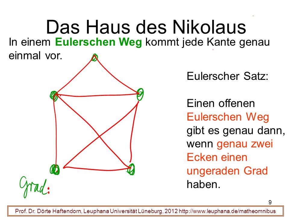 Das Haus des Nikolaus In einem Eulerschen Weg kommt jede Kante genau einmal vor. Eulerscher Satz: