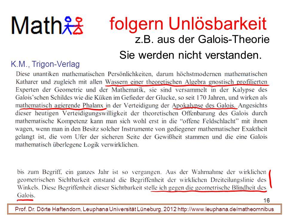 folgern Unlösbarkeit z.B. aus der Galois-Theorie