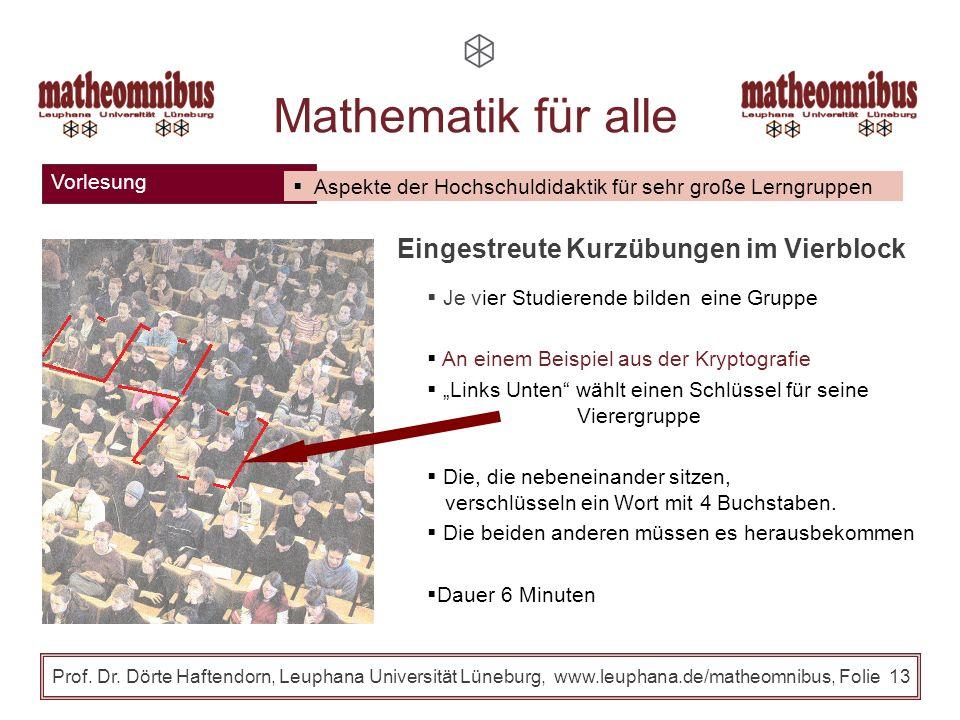 Mathematik für alle Eingestreute Kurzübungen im Vierblock Vorlesung