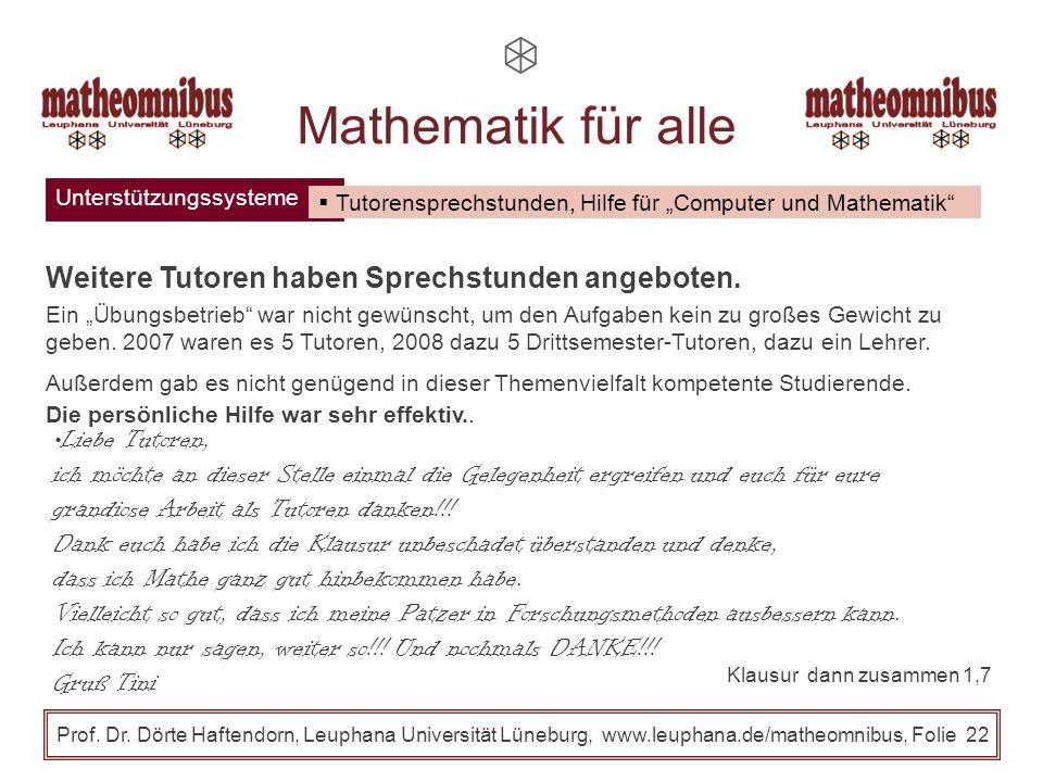 Mathematik für alle Weitere Tutoren haben Sprechstunden angeboten.